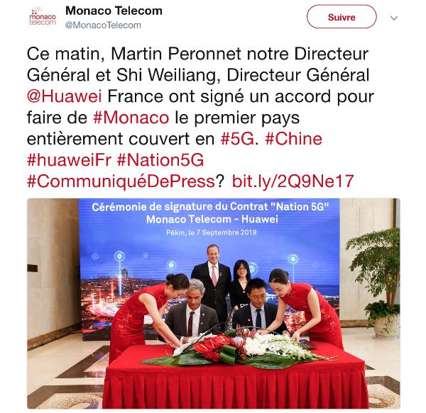 Twitter Monaco Telecom Accord 5G.