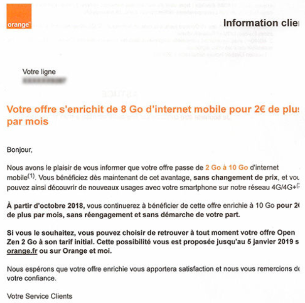 courrier Orange augmentation prix  abonnement mobile