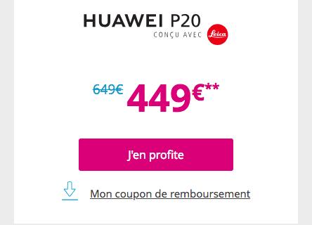 Le P20 de Huawei en promo chez Bouygues Telecom