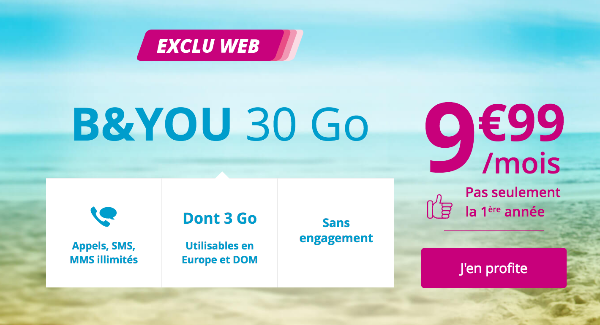 Forfait mobile B&YOU 30 Go promotion