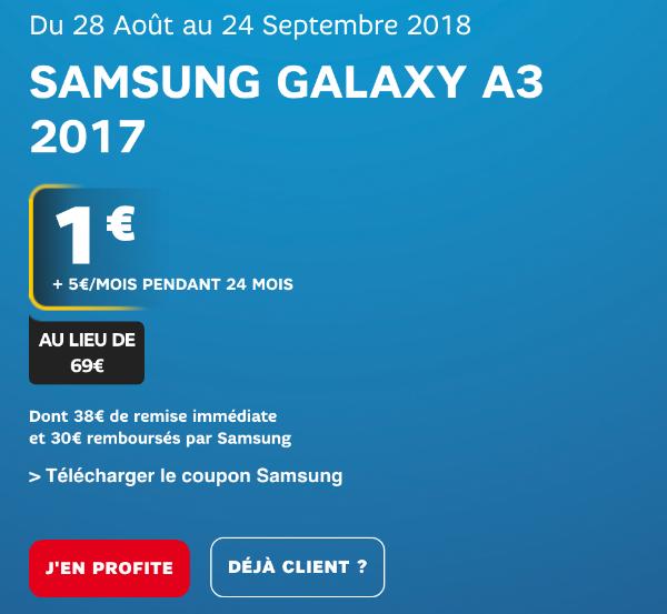 Promotion Galaxy A3 avec Power 10 Go SFR