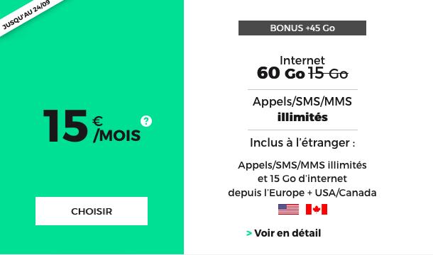 Un abonnement téléphonique illimité chez RED by SFR, avec Internet en 4G et appels vers le Canada et les États-Unis.