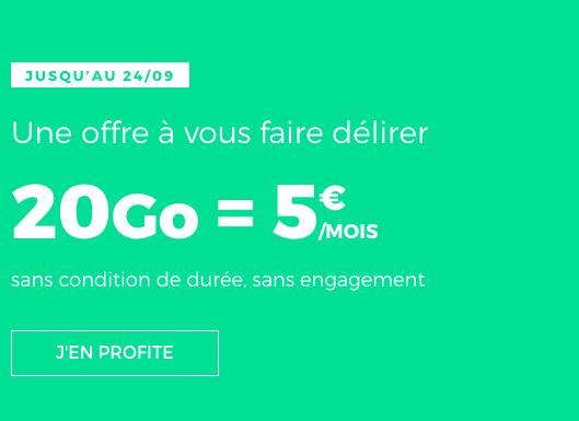 20 Go pour 5€, pas cher le forfait de RED by SFR.