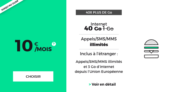 RED by SFR forfait mobile 40 Go en promotion.