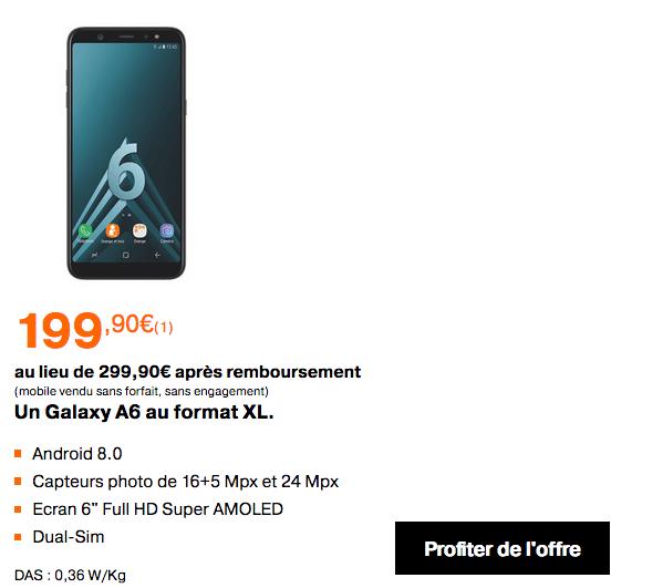 Promotion Samsung Galaxy A6+ Orange ventes flash.