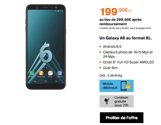 Samsung Galaxy A6+ ventes flash orange bon plan
