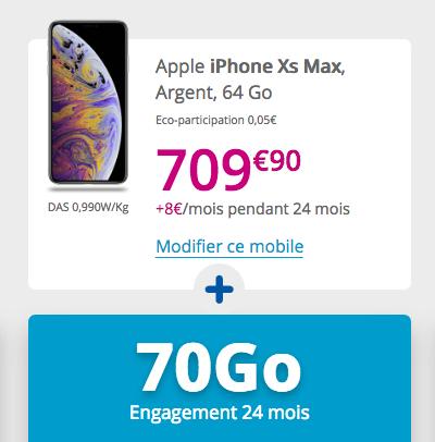 Le forfait Sensation 70 Go de Bouygues Telecom avec l'iPhone XS Max.