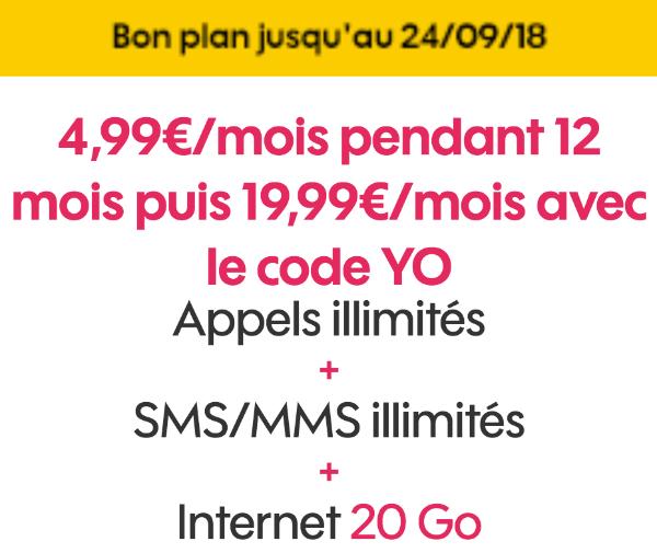 Code promo Sosh forfait mobile 20 Go pas cher