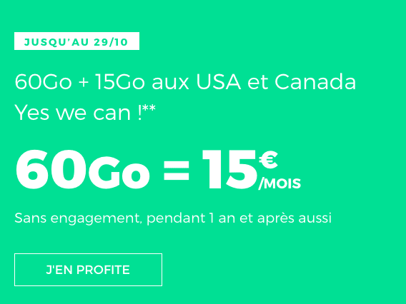 Forfait illimité sans engagement avec RED by SFR : 60 Go en 4G !