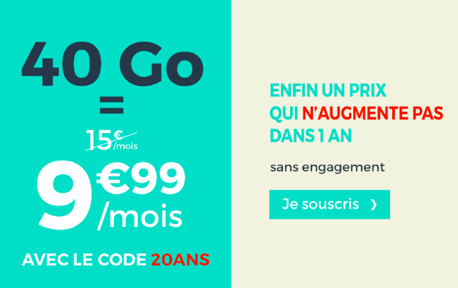 40 Go = 9,99€ avec le code promo OCT30.