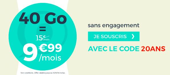L'offre 40 Go à 9,99€ de Cdiscount Mobile.
