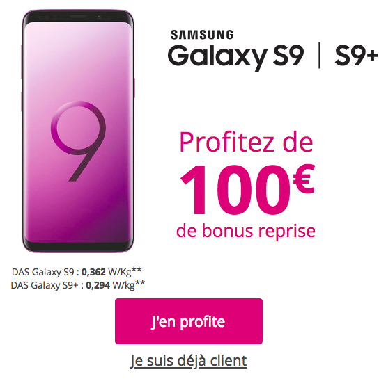 100€ de bonus de reprise.