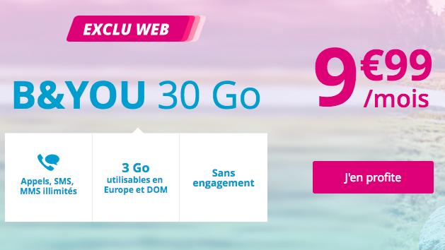 Le forfait B&YOU 30 Go de Bouygues Télécom.