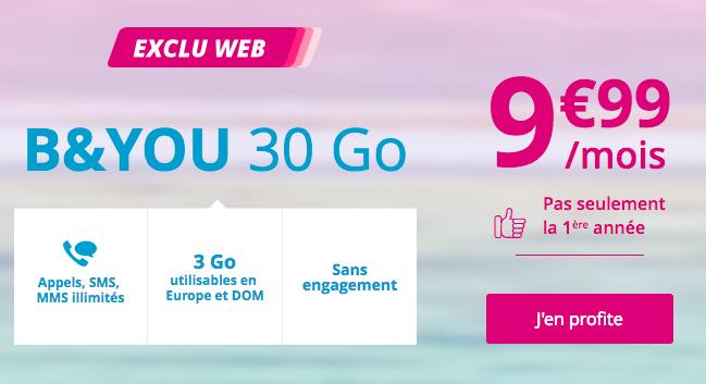 L'offre B&YOU 30 Go à 9,99€.