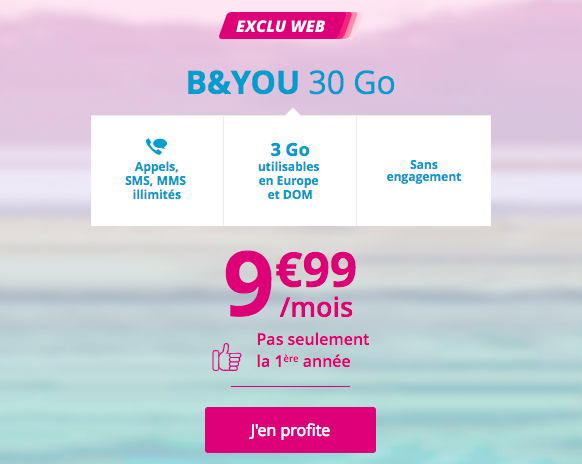L'abonnement spécial B and You à 9,99 euros.
