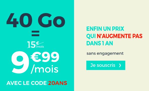 40 Go à 9,99 euros avec Cdiscount Mobile.