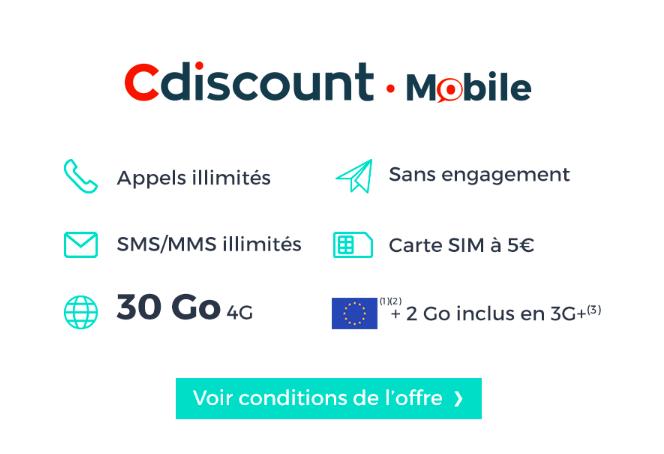 Le détail de l'offre de Cdiscount Mobile.