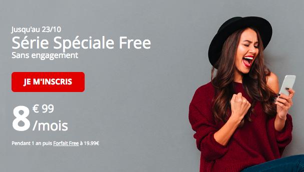 Le forfait à 8,99€ par mois de Free Mobile.