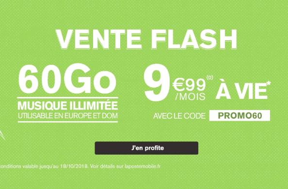 Souscrire à l'offre 60 Go de La Poste Mobile.