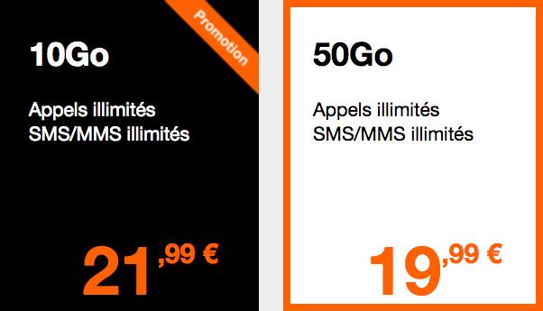 Les forfaits 4G avec Orange.
