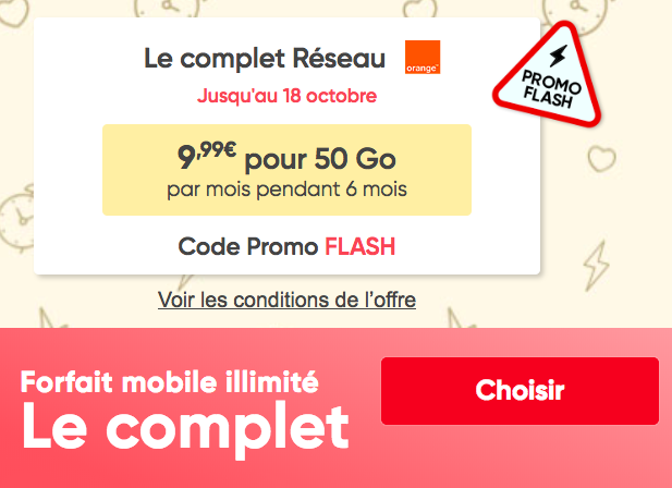 La promotion avec le code FLASH de Prixtel.