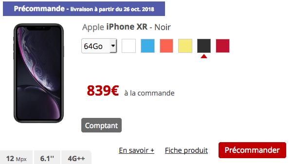 iPhone XR de Apple précommande chez free.