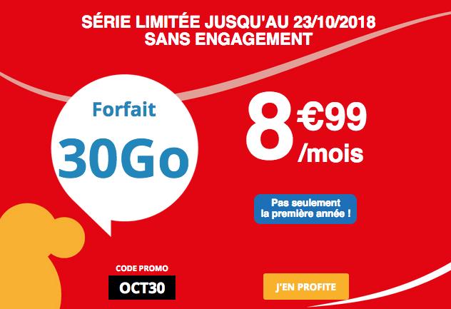 Auchan Télécom promo sur forfait mobile 30 Go 4G.