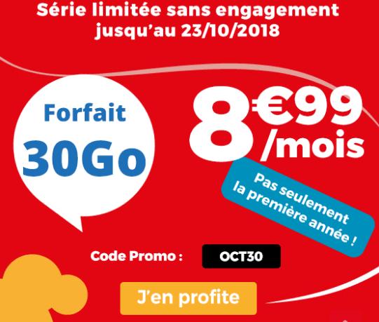 Promotion Auchan Telecom forfait 4G pas cher.