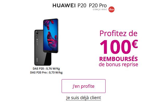 Promotion Huawei P20 Pro bonus reprise Bouygues Telecom.