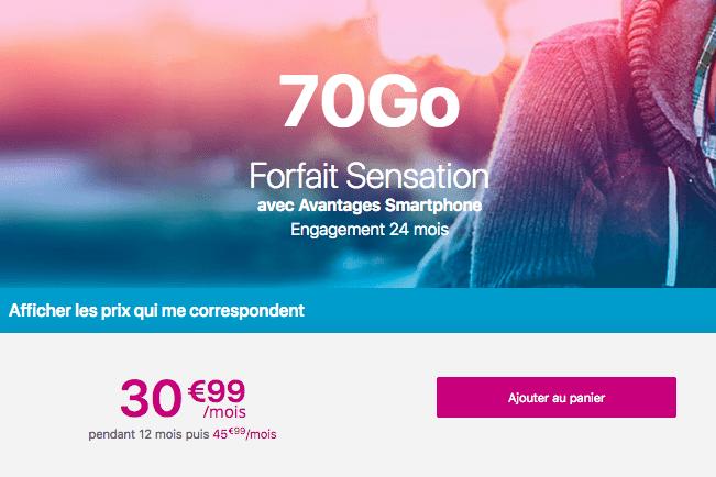 Forfait Sensation 70 Go promotion Bouygues Telecom.