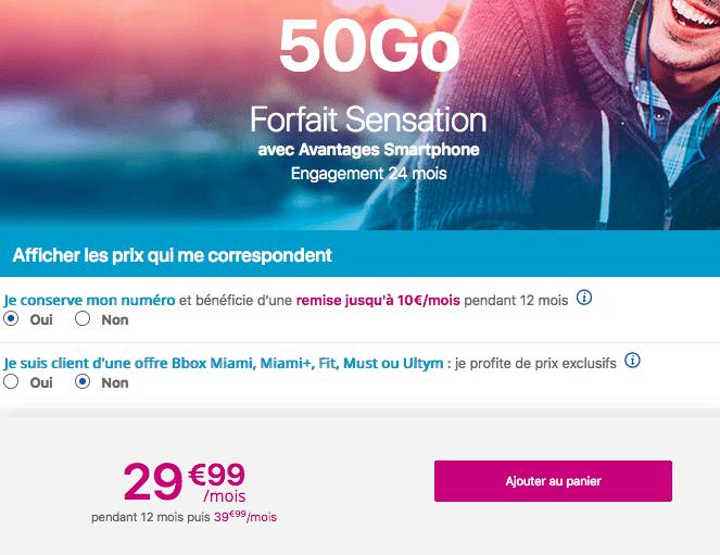 Forfait Sensation 50 Go en promotion.