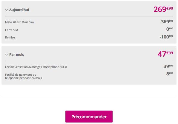 Huawei Mate 20 Pro promotion précommande Bouygues Telecom.