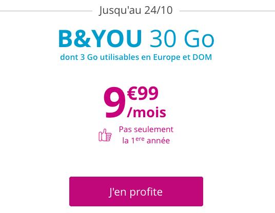 B&YOU propose une remise sur son forfait pas cher doté de 30 Go d'Internet en 4G.