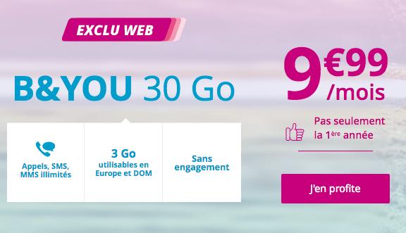 B&YOU 30 Go, le forfait pas cher pour accompagner la précommande du Mate 20 Pro de Huawei.