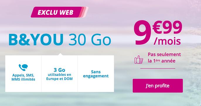 Forfait mobile B&YOU en promotion avec 30 Go de 4G.