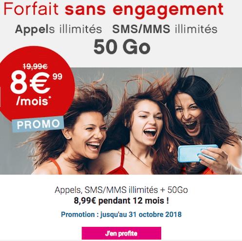 Coriolis Telecom forfait mobile 50 Go 4G pas cher.