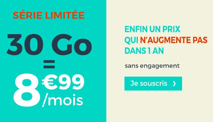 30 Go de 4G pour 8,99€ par mois grâce à une promotion chez Cdiscount Mobile.