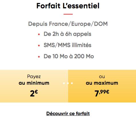 Forfait mobile Prixte L'essentiel prix adaptable.