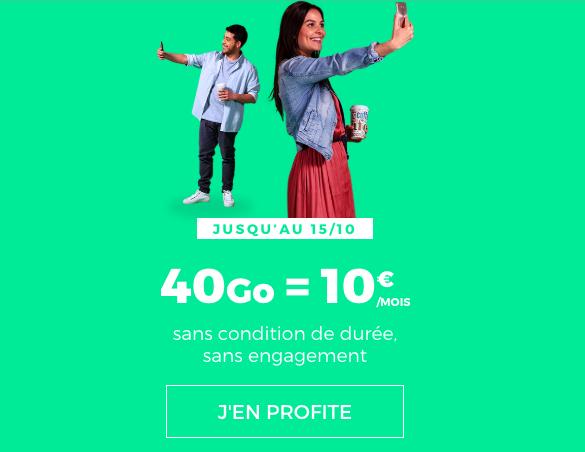 L'offre 40 Go à 10€ de RED by SFR.