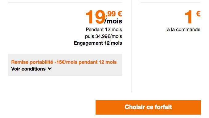 promotion Orange forfait mobile 50 Go.