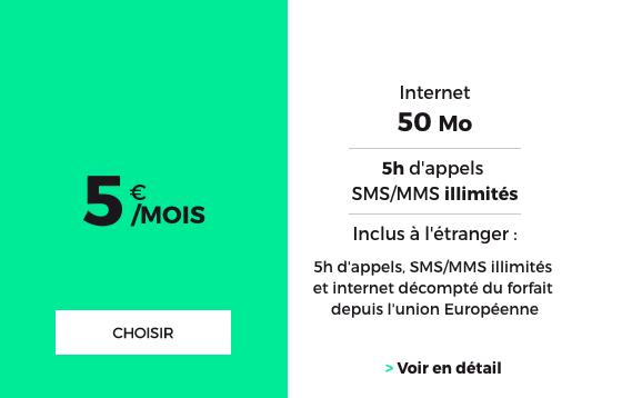 Le forfait bloqué à 5€ de RED by SFR.