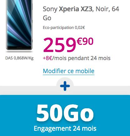 Le forfait illimité de Bouygues Telecom avec un Xperia XZ3 de Sony à bas prix.