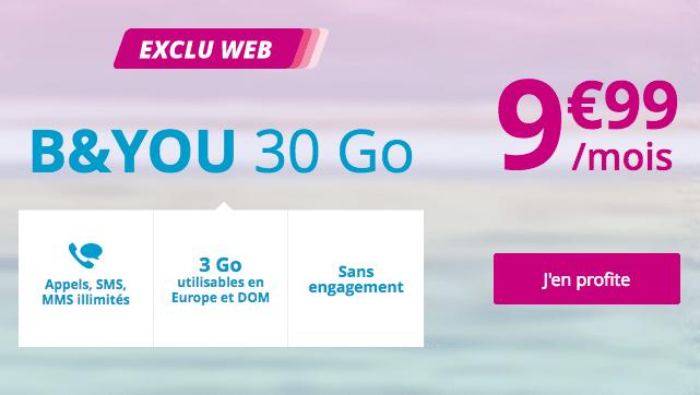 Promotion chez B&YOU avec un forfait mobile 30 Go 4G pas cher.