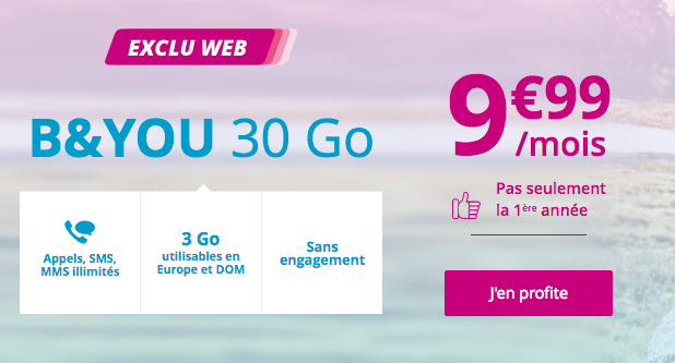 Forfait mobile B&YOU promotion 30 Go.
