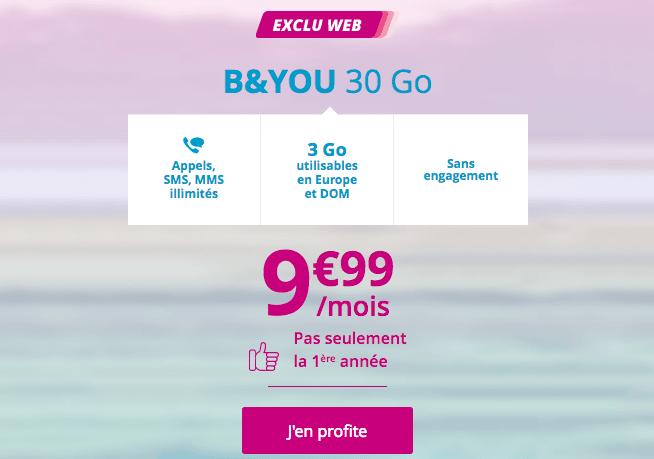 Forfait mobile B&YOU 30 Go 4G pas cher.