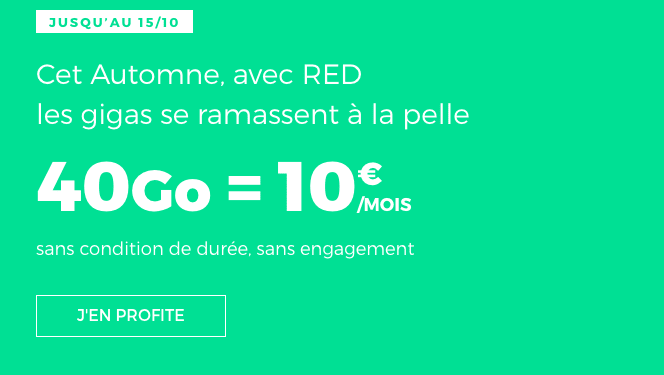 RED by SFR forfait mobile 40 Go 4G 10€/mois.