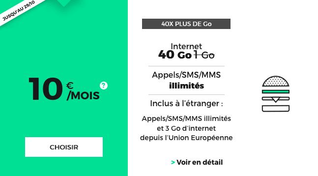 Le forfait RED by SFR 40 Go d'internet mobile en promotion.