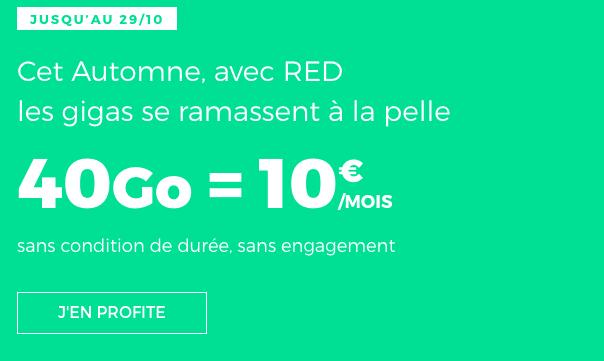 Forfait mobile RED by SFR en promotion avec 40 Go de 4G.