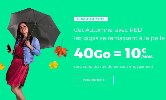 40 Go et tout illimité à 10€ avec RED by SFR.