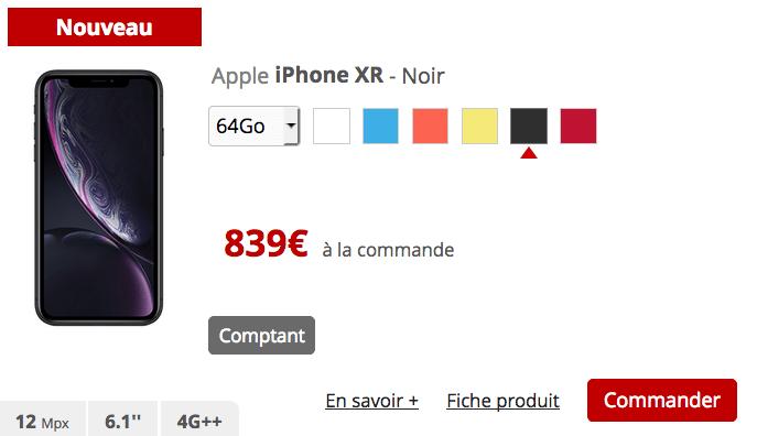 iPhone XR chez Free avec forfait mobile sans engagement.